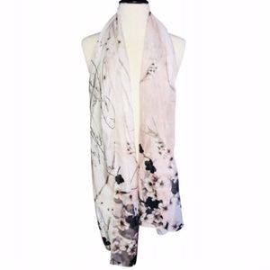 Accessories - NWOT Watercolor Floral Scarf with Beautiful Script